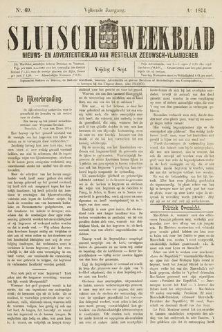 Sluisch Weekblad. Nieuws- en advertentieblad voor Westelijk Zeeuwsch-Vlaanderen 1874-09-04