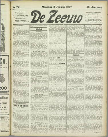 De Zeeuw. Christelijk-historisch nieuwsblad voor Zeeland 1927