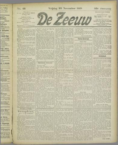 De Zeeuw. Christelijk-historisch nieuwsblad voor Zeeland 1918-11-22