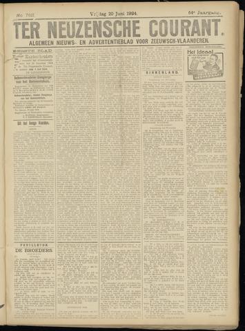 Ter Neuzensche Courant. Algemeen Nieuws- en Advertentieblad voor Zeeuwsch-Vlaanderen / Neuzensche Courant ... (idem) / (Algemeen) nieuws en advertentieblad voor Zeeuwsch-Vlaanderen 1924-06-20