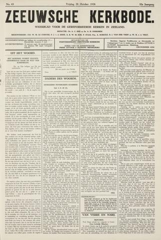 Zeeuwsche kerkbode, weekblad gewijd aan de belangen der gereformeerde kerken/ Zeeuwsch kerkblad 1938-10-28
