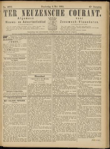 Ter Neuzensche Courant. Algemeen Nieuws- en Advertentieblad voor Zeeuwsch-Vlaanderen / Neuzensche Courant ... (idem) / (Algemeen) nieuws en advertentieblad voor Zeeuwsch-Vlaanderen 1905-05-04