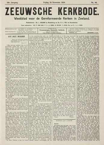 Zeeuwsche kerkbode, weekblad gewijd aan de belangen der gereformeerde kerken/ Zeeuwsch kerkblad 1924-11-28