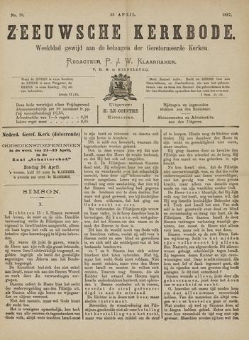 Zeeuwsche kerkbode, weekblad gewijd aan de belangen der gereformeerde kerken/ Zeeuwsch kerkblad 1887-04-23