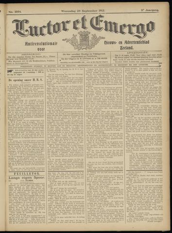 Luctor et Emergo. Antirevolutionair nieuws- en advertentieblad voor Zeeland / Zeeuwsch-Vlaanderen. Orgaan ter verspreiding van de christelijke beginselen in Zeeuwsch-Vlaanderen 1913-09-24