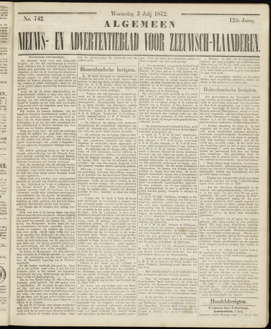 Ter Neuzensche Courant. Algemeen Nieuws- en Advertentieblad voor Zeeuwsch-Vlaanderen / Neuzensche Courant ... (idem) / (Algemeen) nieuws en advertentieblad voor Zeeuwsch-Vlaanderen 1872-07-03