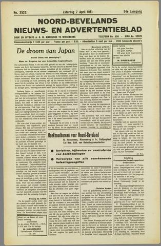 Noord-Bevelands Nieuws- en advertentieblad 1951-04-07