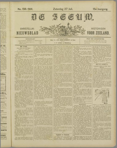 De Zeeuw. Christelijk-historisch nieuwsblad voor Zeeland 1901-07-27