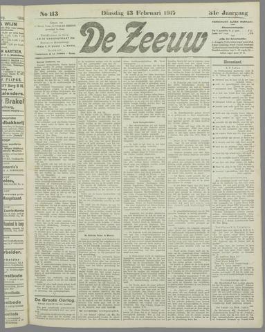 De Zeeuw. Christelijk-historisch nieuwsblad voor Zeeland 1917-02-13