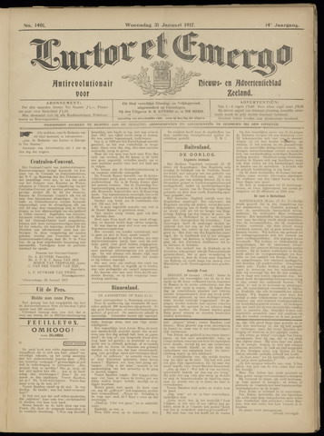 Luctor et Emergo. Antirevolutionair nieuws- en advertentieblad voor Zeeland / Zeeuwsch-Vlaanderen. Orgaan ter verspreiding van de christelijke beginselen in Zeeuwsch-Vlaanderen 1917-01-31