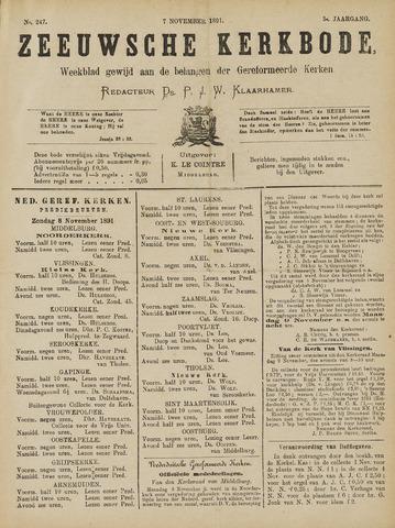 Zeeuwsche kerkbode, weekblad gewijd aan de belangen der gereformeerde kerken/ Zeeuwsch kerkblad 1891-11-07