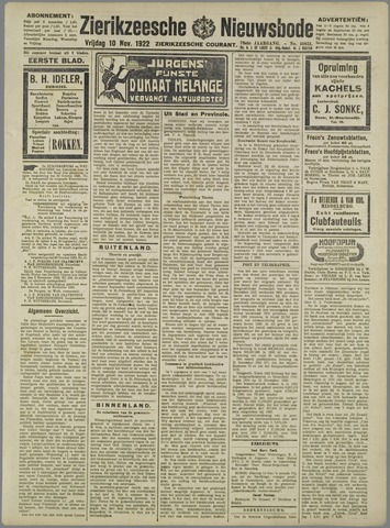 Zierikzeesche Nieuwsbode 1922-11-10