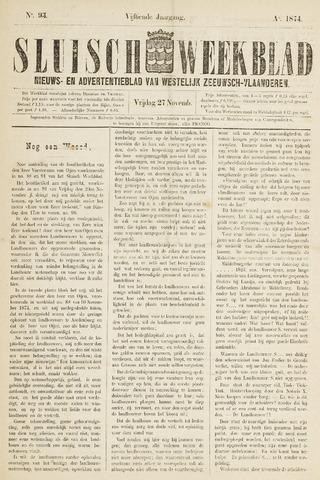 Sluisch Weekblad. Nieuws- en advertentieblad voor Westelijk Zeeuwsch-Vlaanderen 1874-11-27