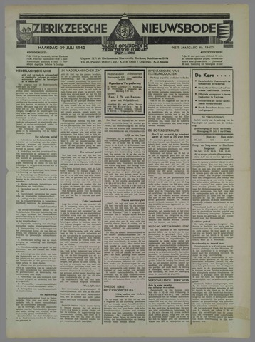 Zierikzeesche Nieuwsbode 1940-07-29