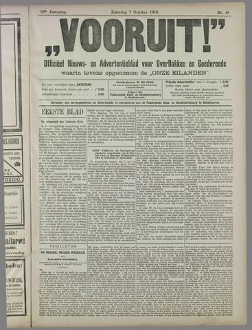 """""""Vooruit!""""Officieel Nieuws- en Advertentieblad voor Overflakkee en Goedereede 1916-10-07"""