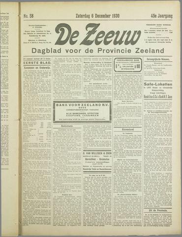 De Zeeuw. Christelijk-historisch nieuwsblad voor Zeeland 1930-12-06