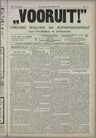 """""""Vooruit!""""Officieel Nieuws- en Advertentieblad voor Overflakkee en Goedereede 1913-01-29"""