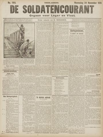 De Soldatencourant. Orgaan voor Leger en Vloot 1915-11-24