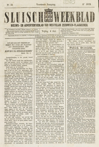 Sluisch Weekblad. Nieuws- en advertentieblad voor Westelijk Zeeuwsch-Vlaanderen 1873-07-04
