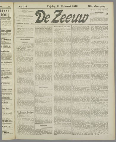 De Zeeuw. Christelijk-historisch nieuwsblad voor Zeeland 1916-02-18