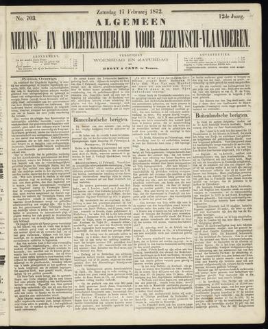 Ter Neuzensche Courant. Algemeen Nieuws- en Advertentieblad voor Zeeuwsch-Vlaanderen / Neuzensche Courant ... (idem) / (Algemeen) nieuws en advertentieblad voor Zeeuwsch-Vlaanderen 1872-02-17