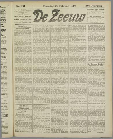 De Zeeuw. Christelijk-historisch nieuwsblad voor Zeeland 1916-02-28