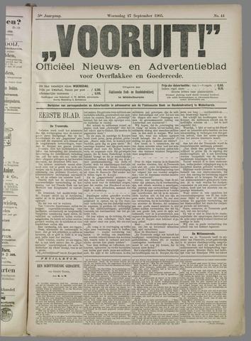 """""""Vooruit!""""Officieel Nieuws- en Advertentieblad voor Overflakkee en Goedereede 1905-09-27"""