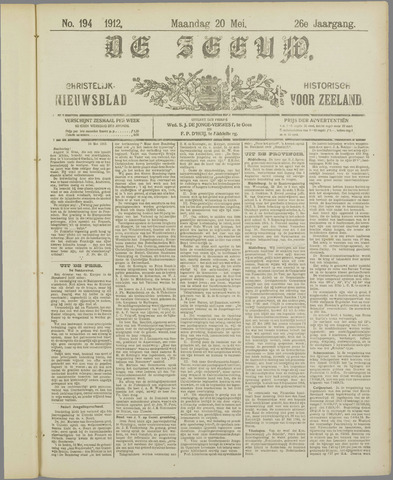 De Zeeuw. Christelijk-historisch nieuwsblad voor Zeeland 1912-05-20