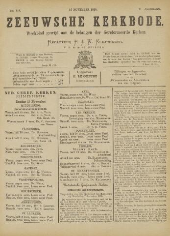 Zeeuwsche kerkbode, weekblad gewijd aan de belangen der gereformeerde kerken/ Zeeuwsch kerkblad 1889-11-16