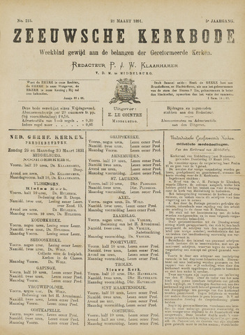 Zeeuwsche kerkbode, weekblad gewijd aan de belangen der gereformeerde kerken/ Zeeuwsch kerkblad 1891-03-28