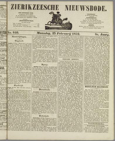 Zierikzeesche Nieuwsbode 1852-02-23