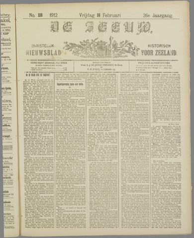 De Zeeuw. Christelijk-historisch nieuwsblad voor Zeeland 1912-02-16