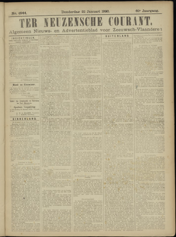 Ter Neuzensche Courant. Algemeen Nieuws- en Advertentieblad voor Zeeuwsch-Vlaanderen / Neuzensche Courant ... (idem) / (Algemeen) nieuws en advertentieblad voor Zeeuwsch-Vlaanderen 1920-01-22