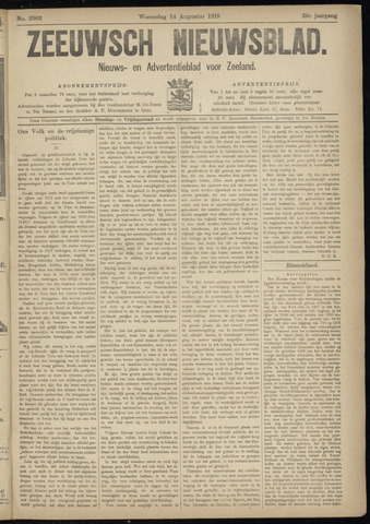 Ter Neuzensch Volksblad. Vrijzinnig nieuws- en advertentieblad voor Zeeuwsch- Vlaanderen / Zeeuwsch Nieuwsblad. Nieuws- en advertentieblad voor Zeeland 1918-08-14
