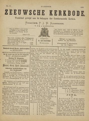 Zeeuwsche kerkbode, weekblad gewijd aan de belangen der gereformeerde kerken/ Zeeuwsch kerkblad 1887-08-20