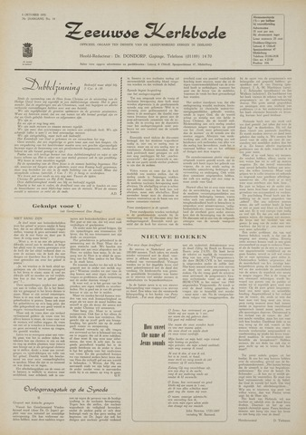 Zeeuwsche kerkbode, weekblad gewijd aan de belangen der gereformeerde kerken/ Zeeuwsch kerkblad 1970-10-08