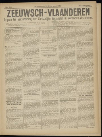 Luctor et Emergo. Antirevolutionair nieuws- en advertentieblad voor Zeeland / Zeeuwsch-Vlaanderen. Orgaan ter verspreiding van de christelijke beginselen in Zeeuwsch-Vlaanderen 1919-02-26