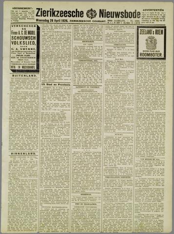 Zierikzeesche Nieuwsbode 1926-04-28