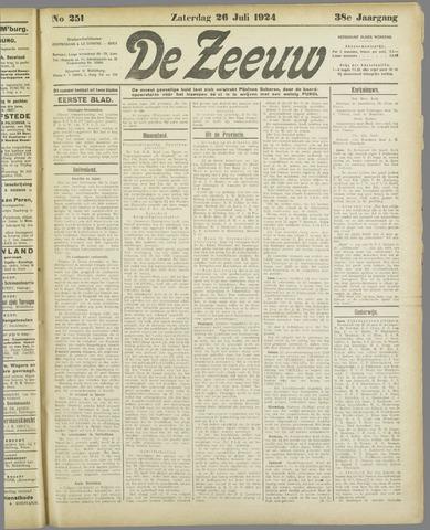 De Zeeuw. Christelijk-historisch nieuwsblad voor Zeeland 1924-07-26