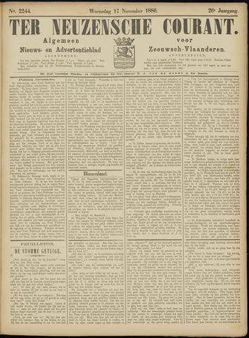 Ter Neuzensche Courant. Algemeen Nieuws- en Advertentieblad voor Zeeuwsch-Vlaanderen / Neuzensche Courant ... (idem) / (Algemeen) nieuws en advertentieblad voor Zeeuwsch-Vlaanderen 1886-11-17