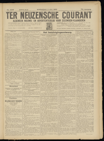 Ter Neuzensche Courant. Algemeen Nieuws- en Advertentieblad voor Zeeuwsch-Vlaanderen / Neuzensche Courant ... (idem) / (Algemeen) nieuws en advertentieblad voor Zeeuwsch-Vlaanderen 1935-07-03