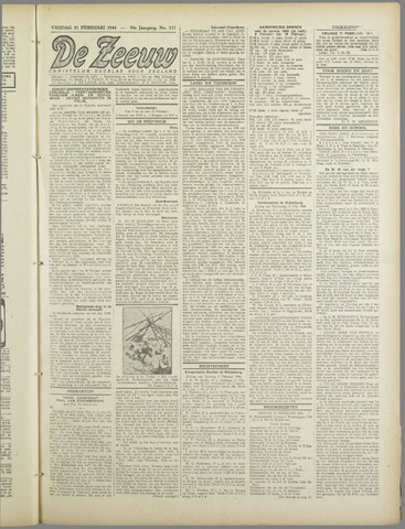De Zeeuw. Christelijk-historisch nieuwsblad voor Zeeland 1944-02-11