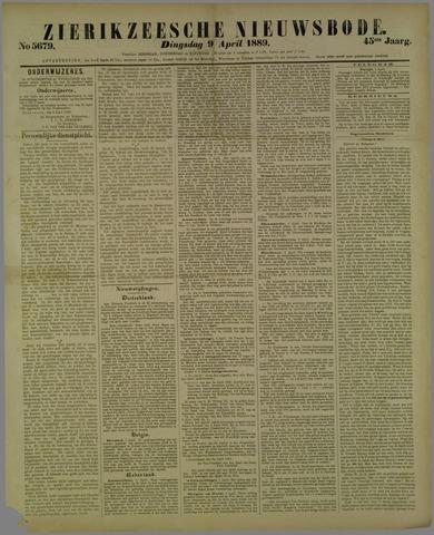 Zierikzeesche Nieuwsbode 1889-04-09