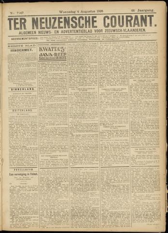 Ter Neuzensche Courant. Algemeen Nieuws- en Advertentieblad voor Zeeuwsch-Vlaanderen / Neuzensche Courant ... (idem) / (Algemeen) nieuws en advertentieblad voor Zeeuwsch-Vlaanderen 1926-08-04