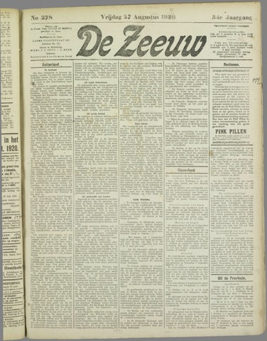 De Zeeuw. Christelijk-historisch nieuwsblad voor Zeeland 1920-08-27