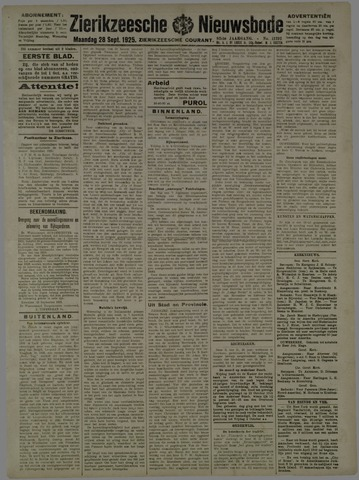 Zierikzeesche Nieuwsbode 1925-09-28