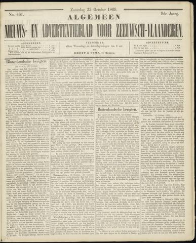 Ter Neuzensche Courant. Algemeen Nieuws- en Advertentieblad voor Zeeuwsch-Vlaanderen / Neuzensche Courant ... (idem) / (Algemeen) nieuws en advertentieblad voor Zeeuwsch-Vlaanderen 1869-10-23