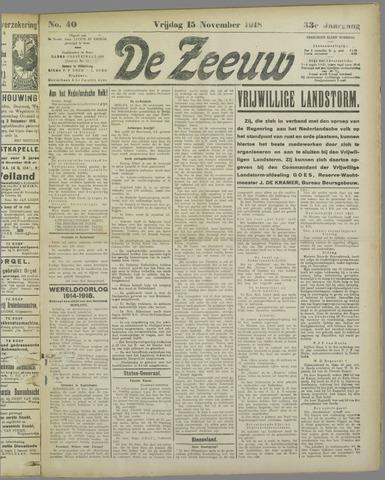 De Zeeuw. Christelijk-historisch nieuwsblad voor Zeeland 1918-11-15