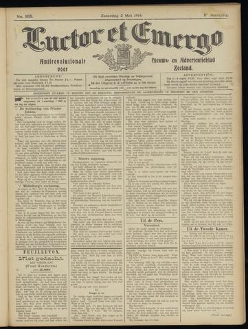 Luctor et Emergo. Antirevolutionair nieuws- en advertentieblad voor Zeeland / Zeeuwsch-Vlaanderen. Orgaan ter verspreiding van de christelijke beginselen in Zeeuwsch-Vlaanderen 1914-05-02