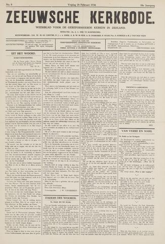Zeeuwsche kerkbode, weekblad gewijd aan de belangen der gereformeerde kerken/ Zeeuwsch kerkblad 1936-02-28
